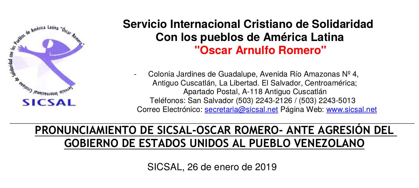 Comunicado sobre agresión a Venezuela